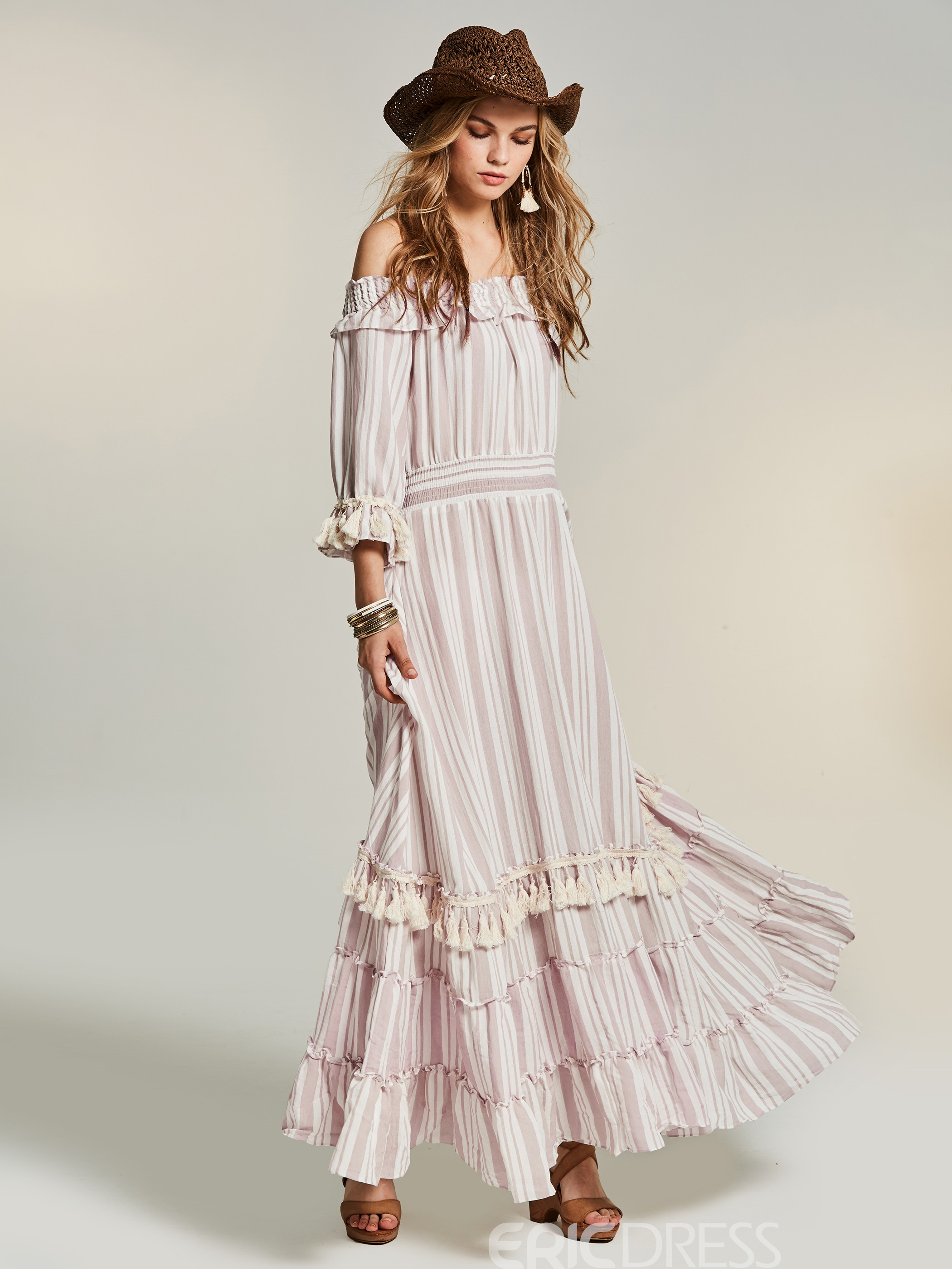 Ericdress Off-the-Shoulder Petal Sleeve Ankle-Length Expansion Maxi Dress