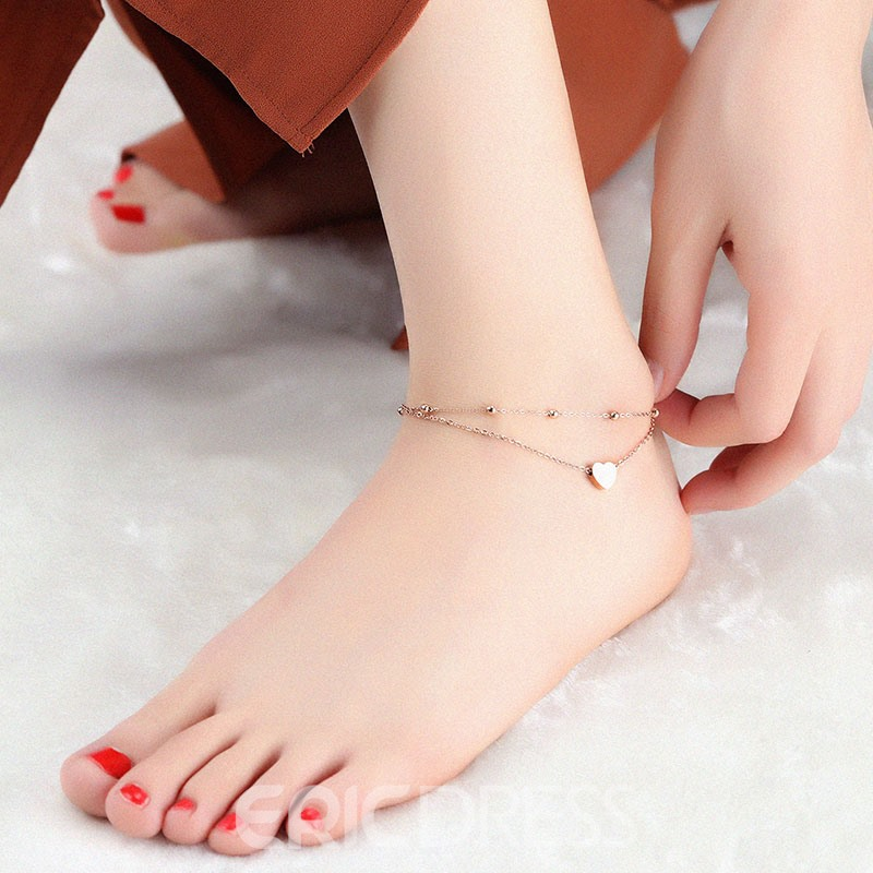 Ericdress Rose Gold Plating Heart Pendant Women's Anklet