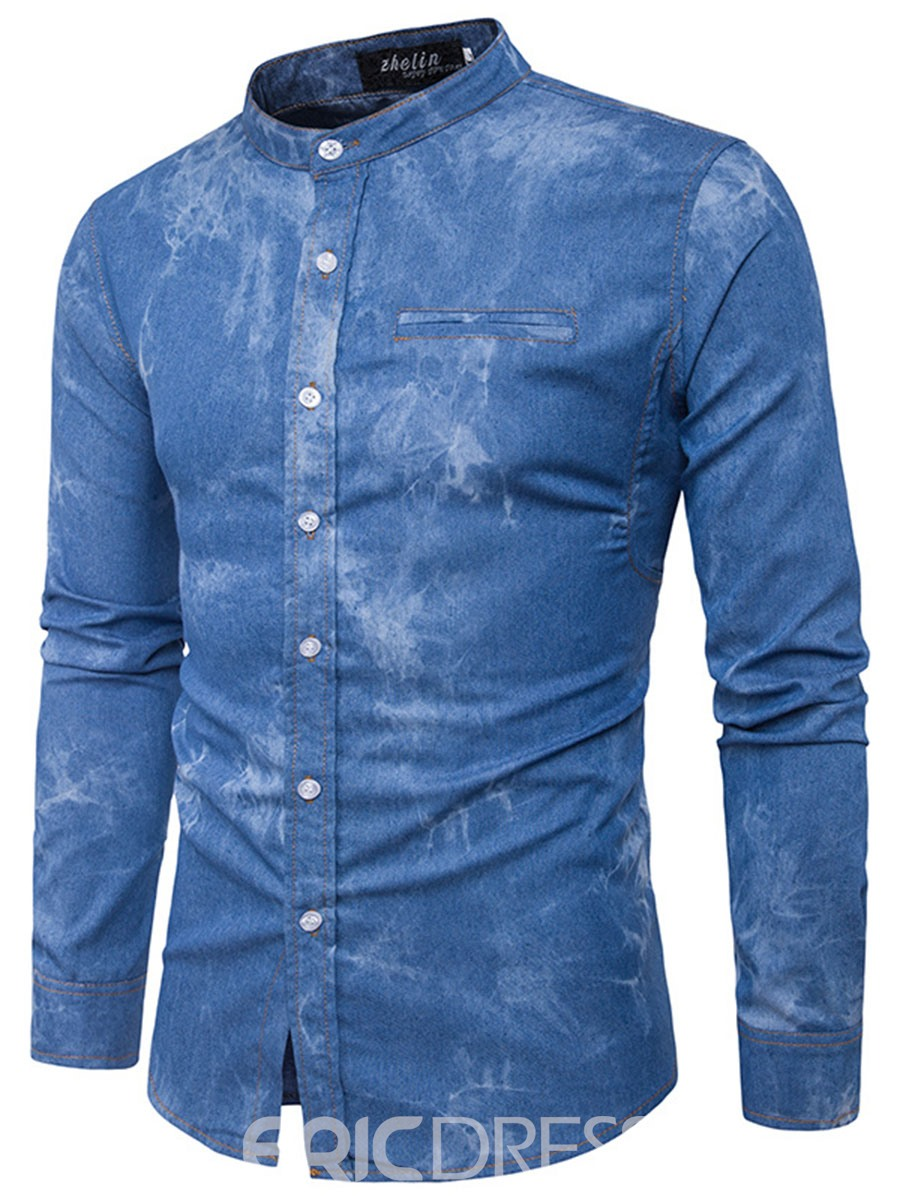 Ericdress Unique Stand Collar Denim Casual Men's Shirt
