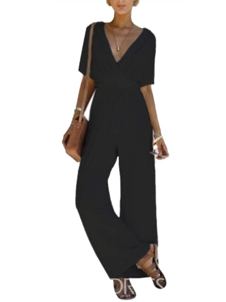 Ericdress V-Neck Wide Legs Jumpsuits Pants