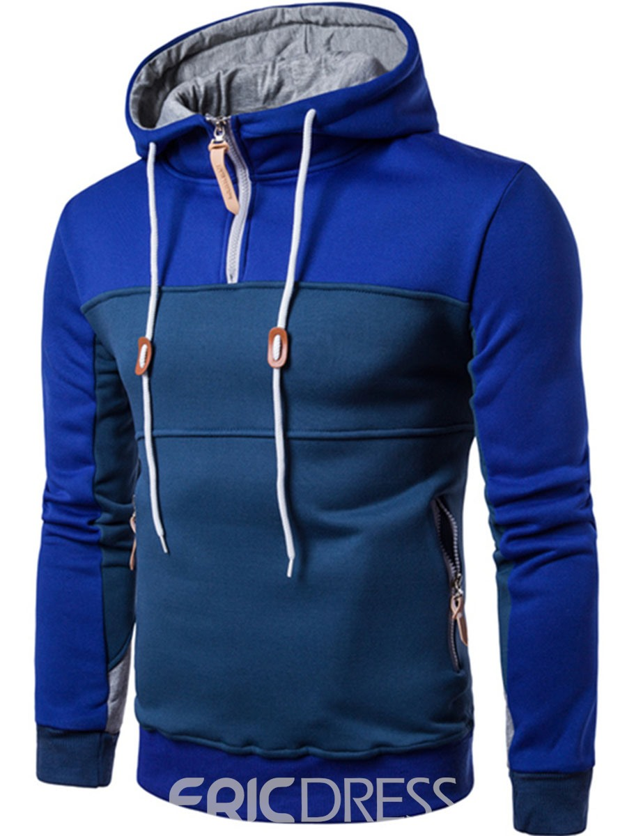 Ericdress Color Block Zip Patched Casual Pullover Men's Hoodie
