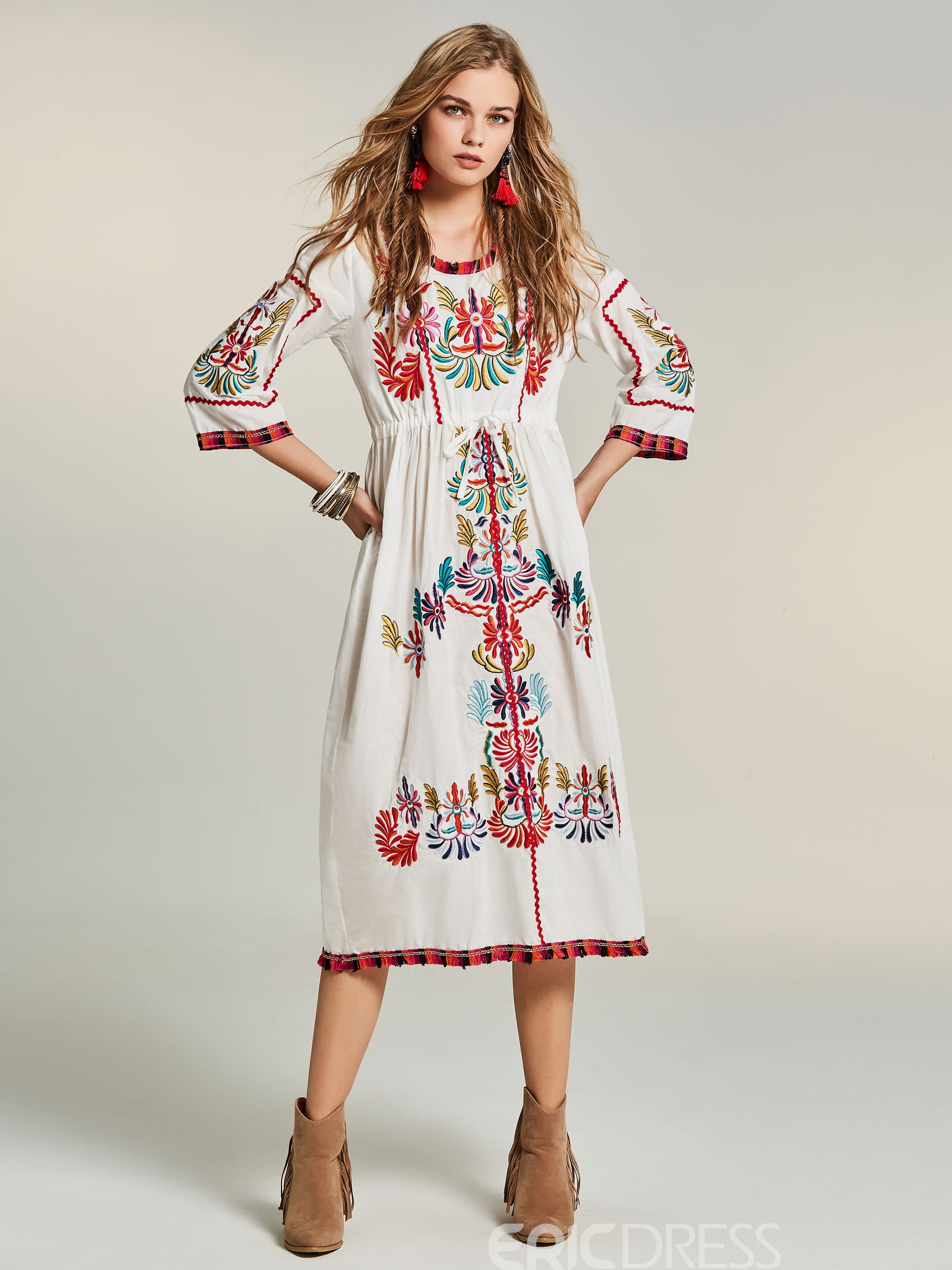 Ericdress Drawstring Mid-Waist Floral Embroideried Casual Dress
