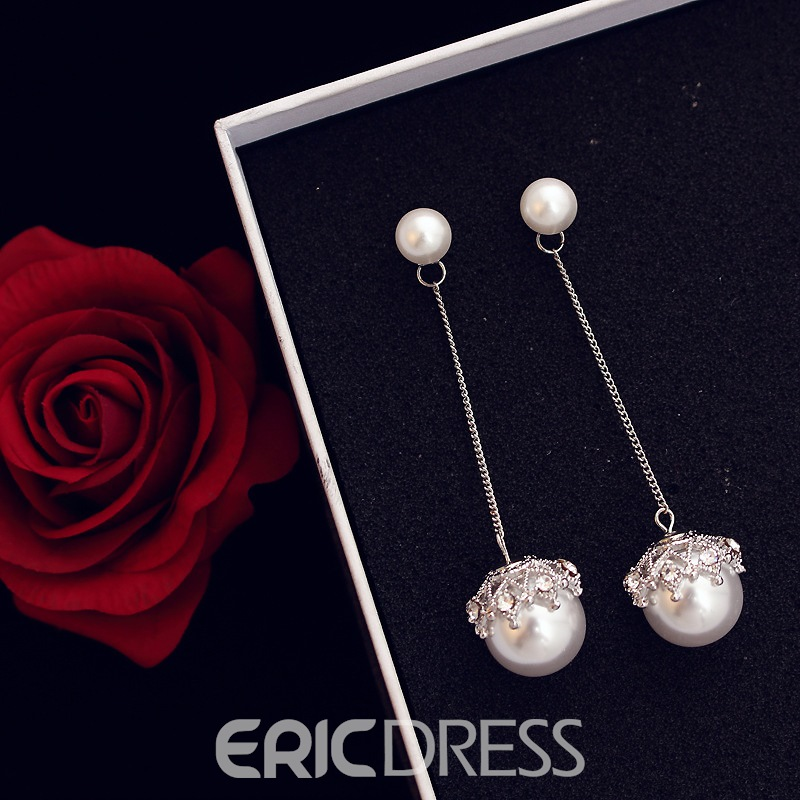 Ericdress All Match Imitation Pearl Long Drop Earring for Women