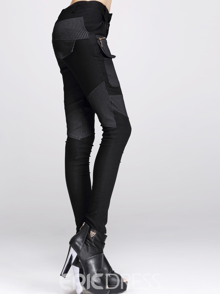 Ericdress Patchwork Mid-Waist Leggings Pants