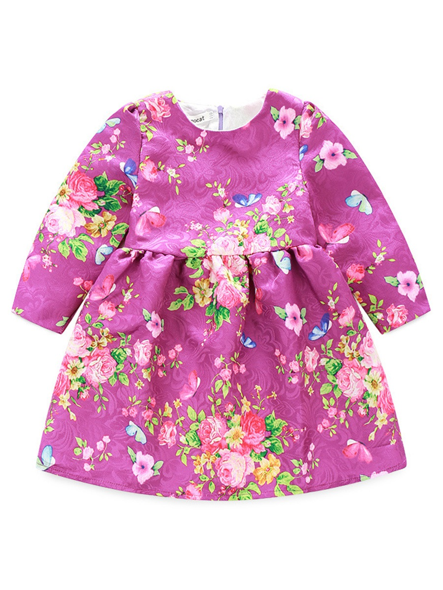 Ericdress Floral Printed Long Sleeve Patchwork Lovely Girls Dress