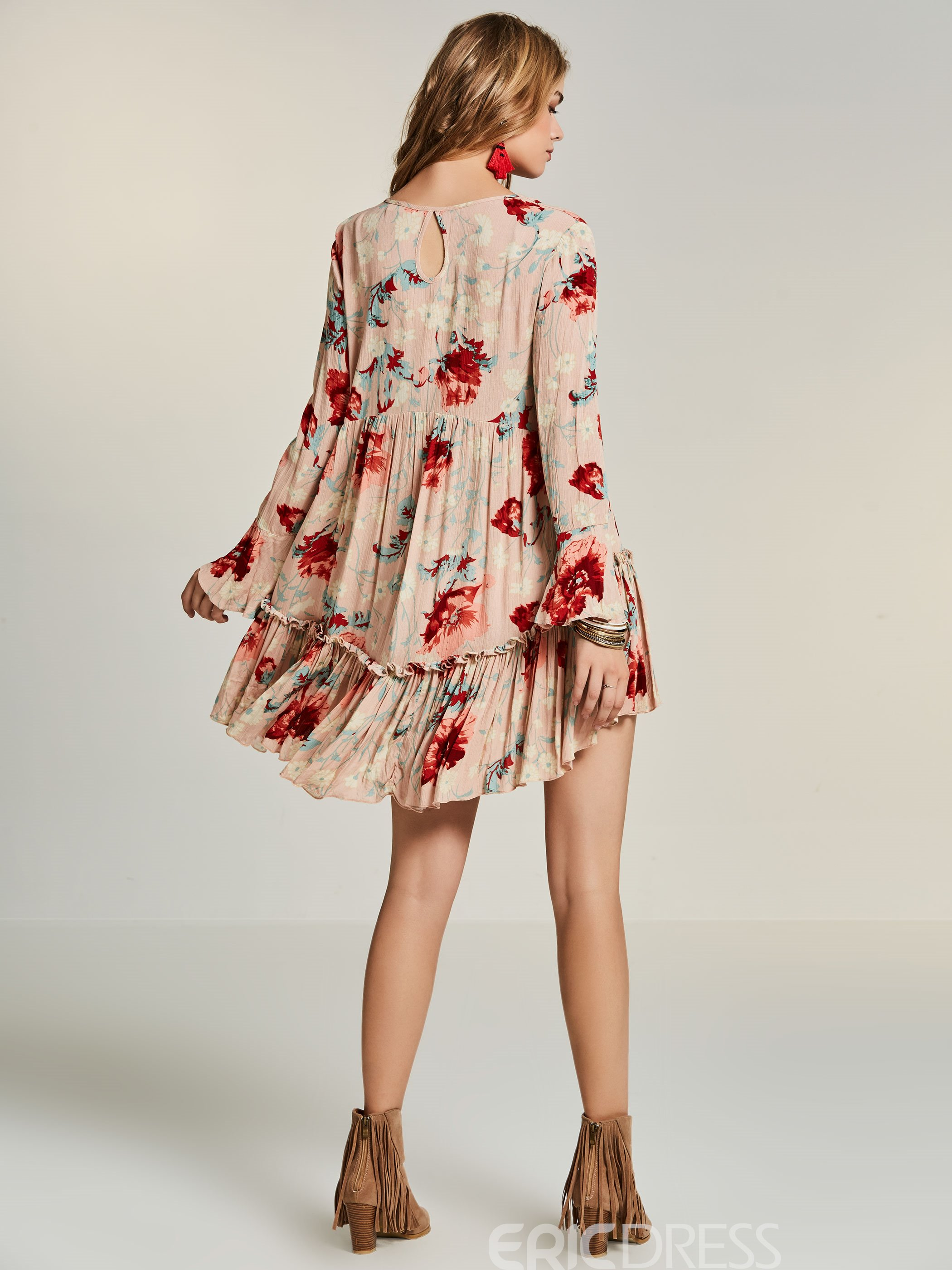 Ericdress V-Neck Flower Print Bohoartist Casual Dress