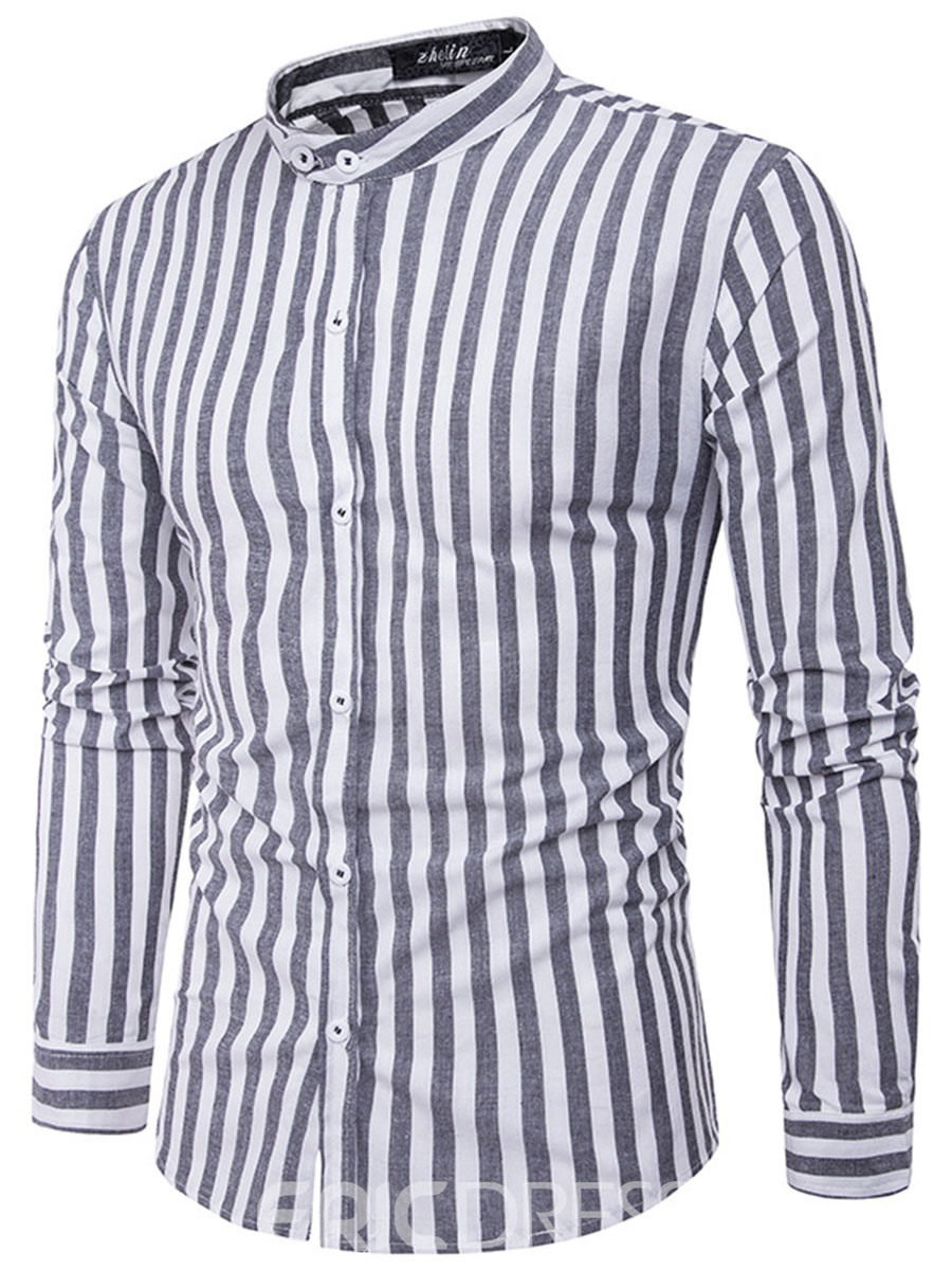 Ericdress Vertical Stripe Stand Collar Vogue Slim Men's Shirt