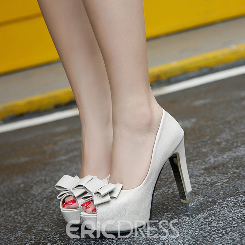Ericdress Peep Toe Slip-On Chunky Pumps