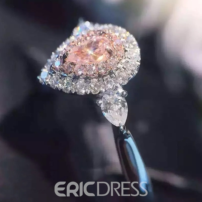 Ericdress Sweet S925 Silver Pearl Cut Pink Imitation Diamond Wedding Ring