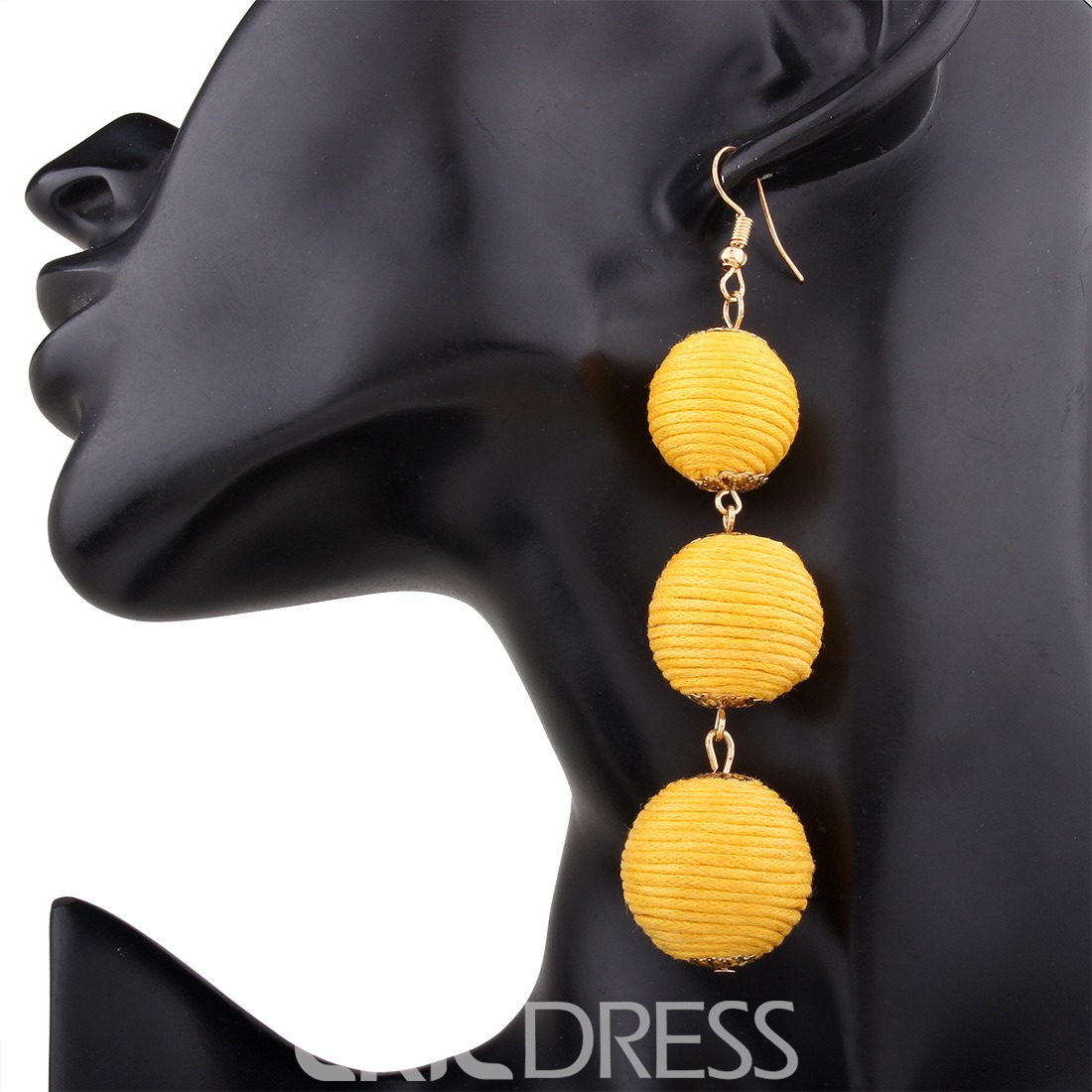 Ericdress Bohemia Style Ball Long Tassel Women's Drop Earring