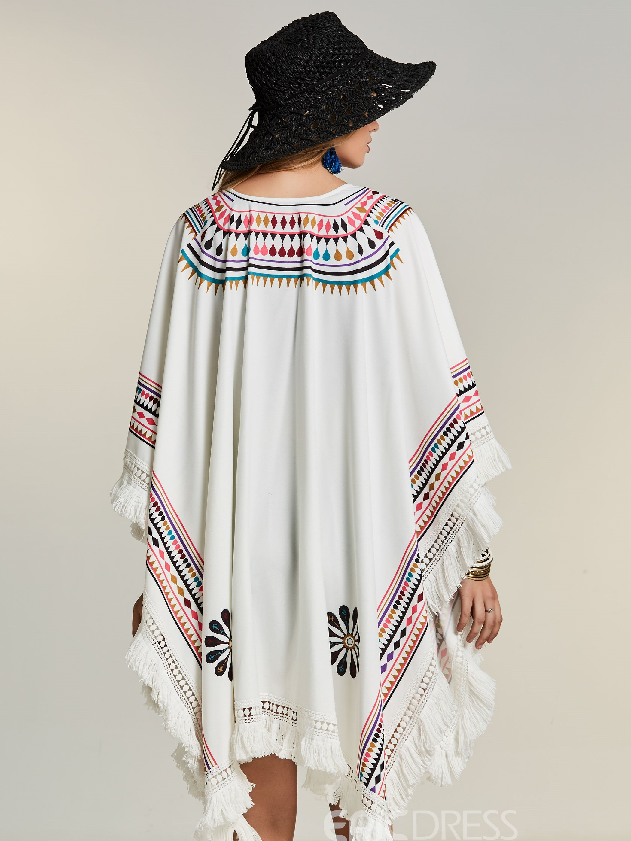Ericdress Bohoartist Geometric Pattern Floral Cape