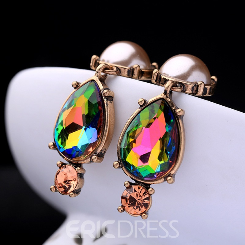 Ericdress Vintage Colored Rhinestone Pendant Women's Earring