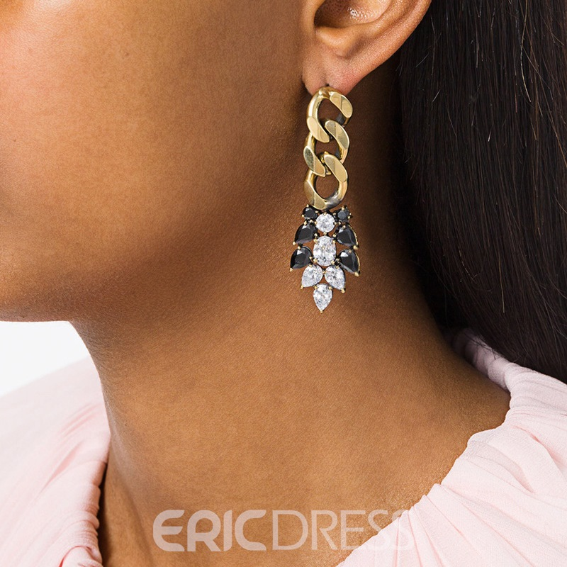 Ericdress Bohemia Rhinestone Leaf-Shaped Women's Earring