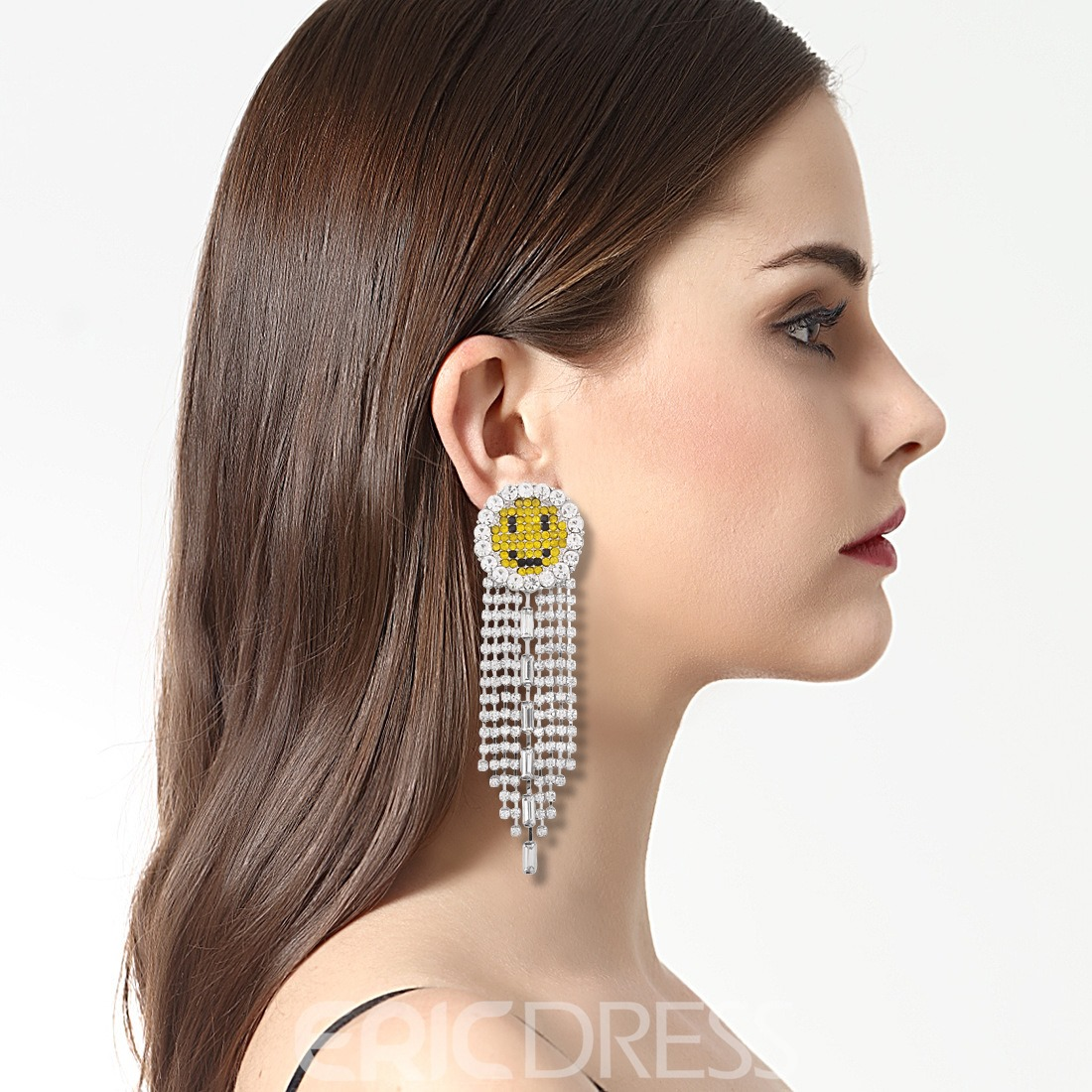 Ericdress High Quality Sparkling Tassel EMOJI Drop Earring