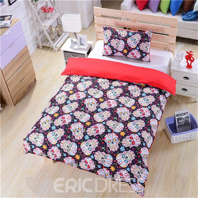 3D Skull and Flowers Printed Polyester 3-Piece Bedding Sets/Duvet Covers