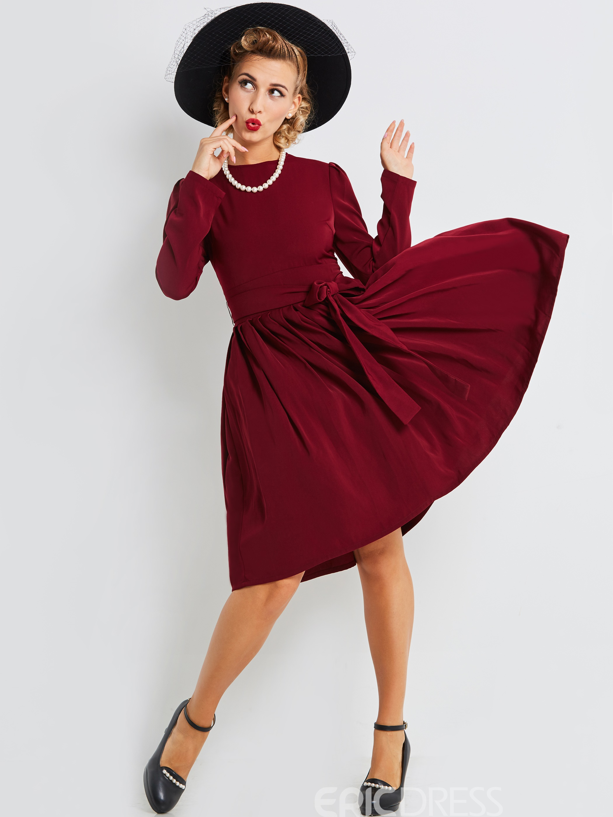 Ericdress Long Sleeves Lace-Up Plain A Line Dress