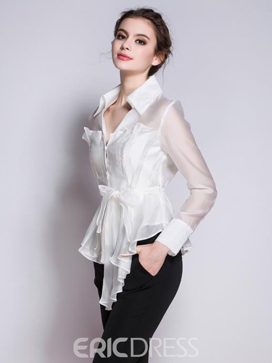 Ericdress Lapel See-Through Lace-Up Blouse