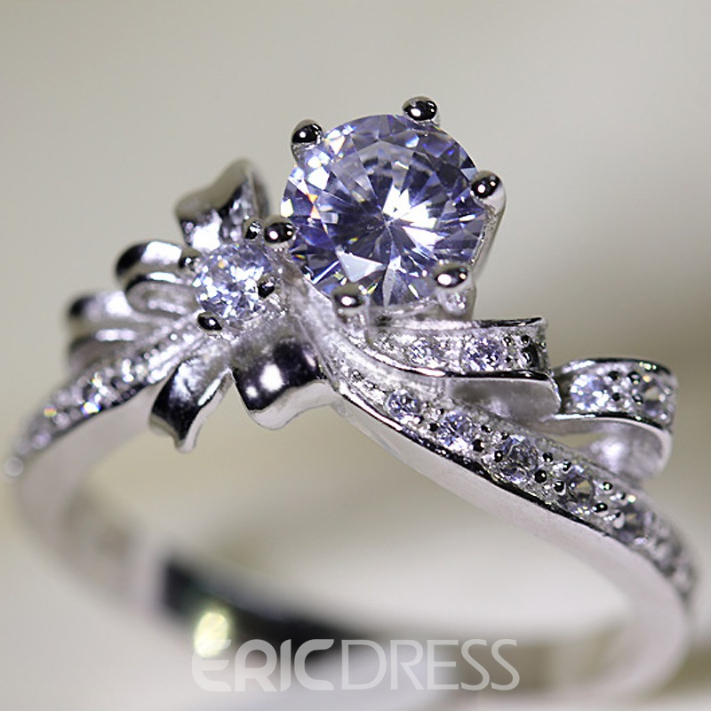 Ericdress Bowtie-Shaped Imitation Diamond S925 Silver Wedding Ring