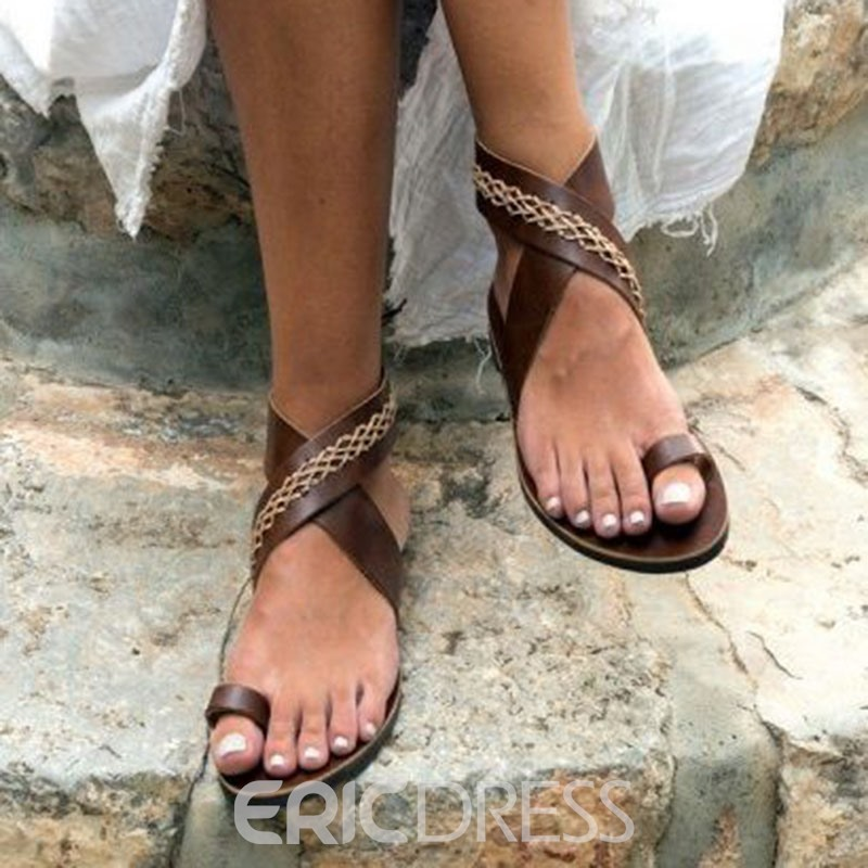 Ericdress Toe Ring Lace-Up Flat Sandals