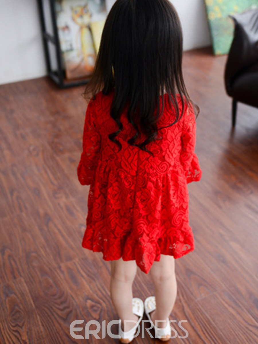 Ericdress Lace Flare Sleeve Ruffles Princess Girls Dress