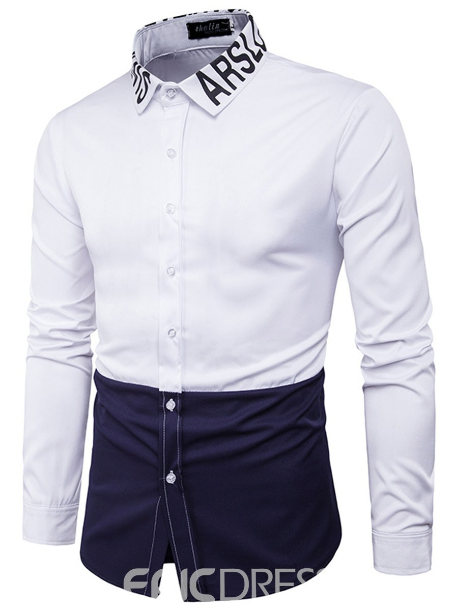 Ericdress Color Block Collar Print Vogue Men's Shirt