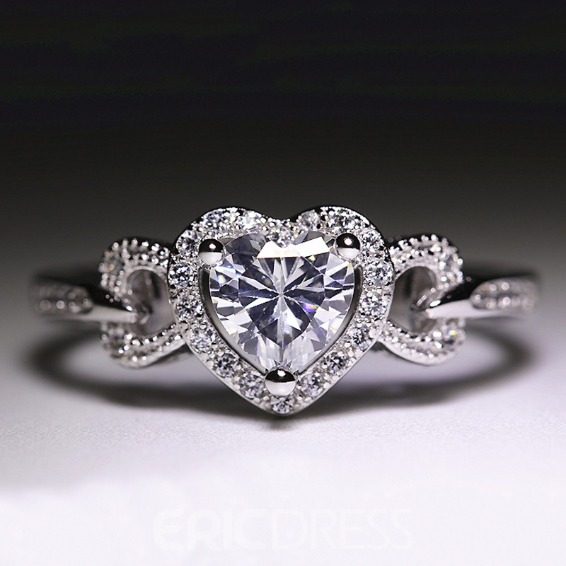 Ericdress Romantic Heart Cut Women's S925 Silver Wedding Ring