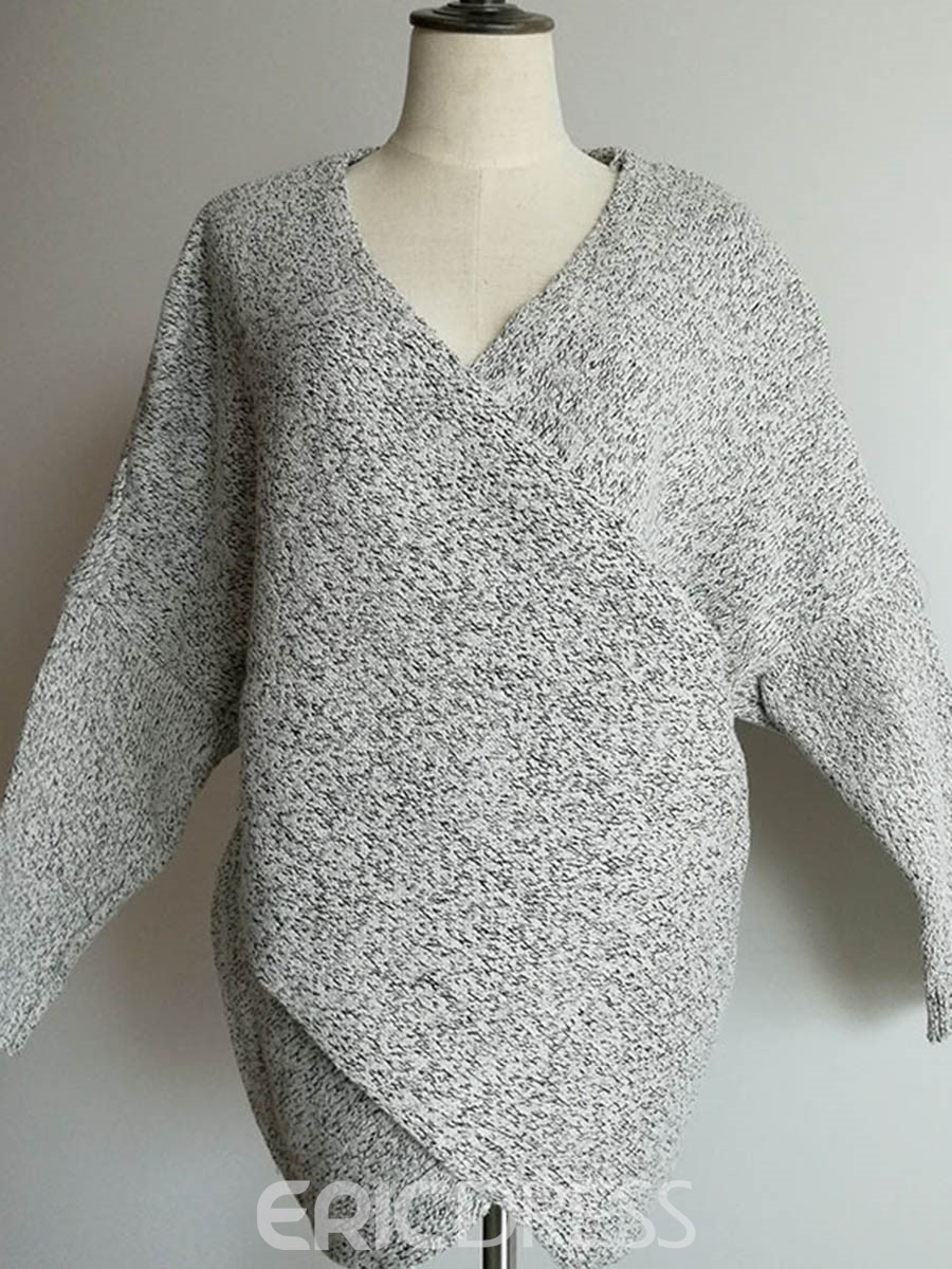 Ericdress V-Neck Mid-Length Pullover Knitwear