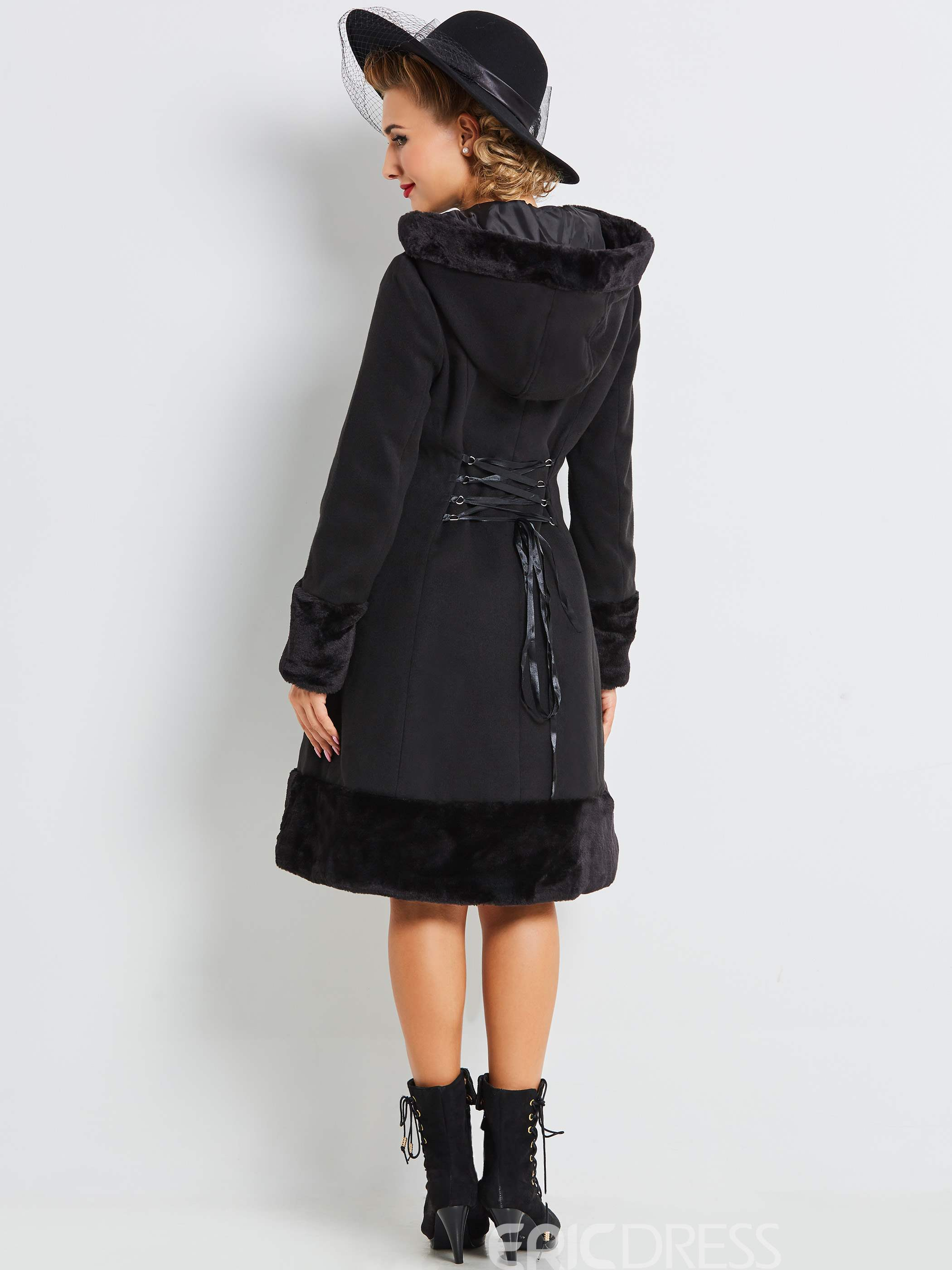 Ericdress Solid Color A-Line Vintage Coat