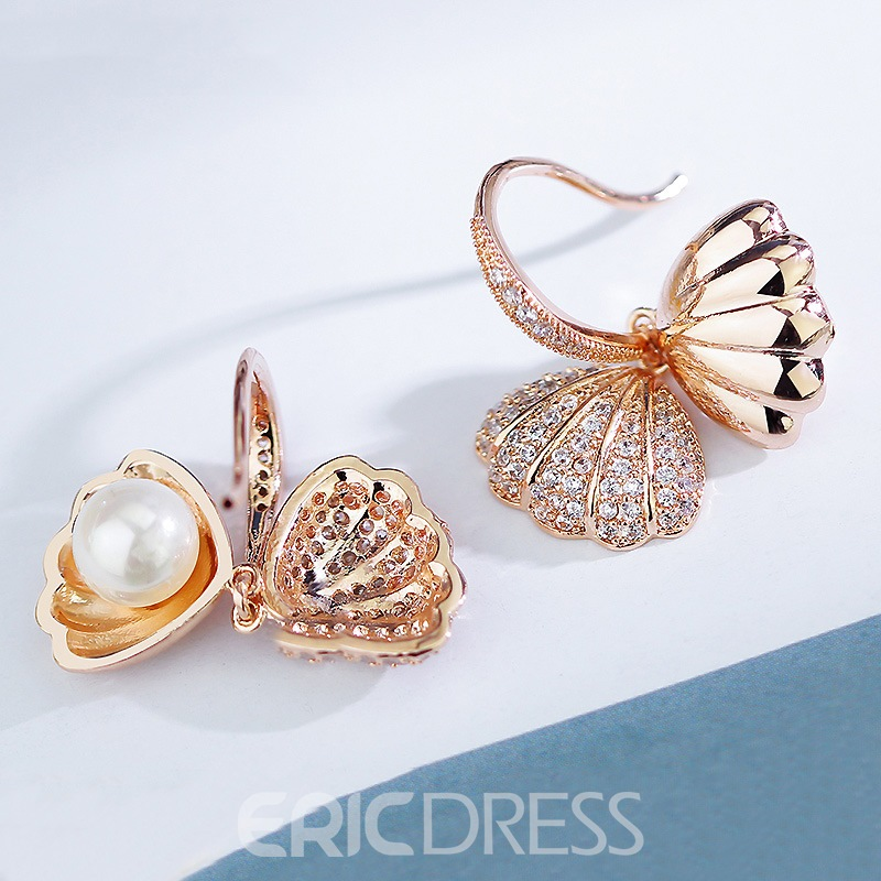 Ericdress Shell Pearl Pendant Rose Gold Drop Earring