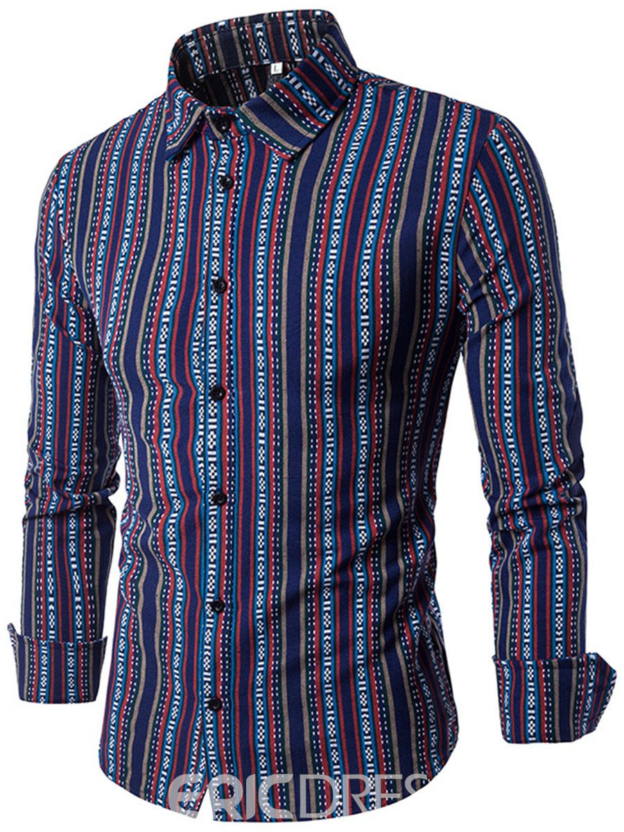 Ericdress Ethnic Style Print Patched Vogue Slim Men's Shirt