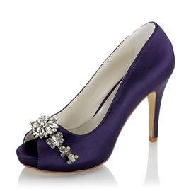 Ericdress Purple Rhinestone Peep Toe Women's Wedding Shoes
