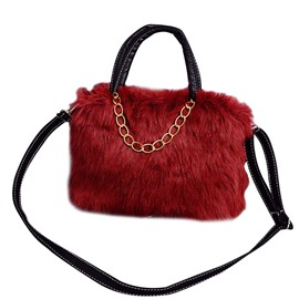 Ericdress Korean Style Solid Color Plush Handbag