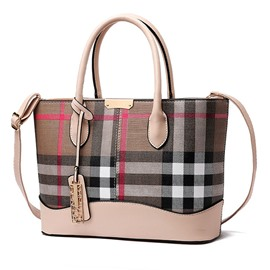 Ericdress Color Block Plaid PU Handbag