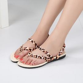 Ericdress Leopard Thong Strappy Flat Sandals