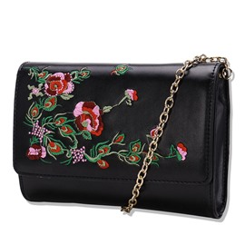 Ericdress Retro Embroidery Chain Crossbody Bag