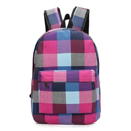 Ericdress Color Block Plaid Canvas Backpack