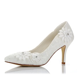 Ericdress Lace Slip-On Plain Stiletto Heel Wedding Shoes