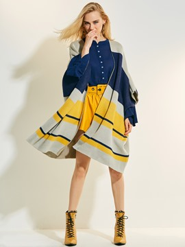 Ericdress Wrapped Color Block Stripe Cape