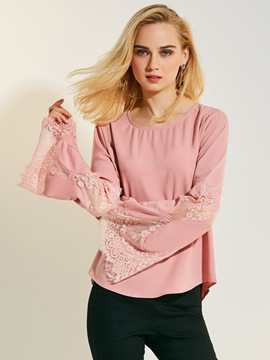 Ericdress Solid Color Trumpet Bell Sleeve Lace Patchwork Blouse