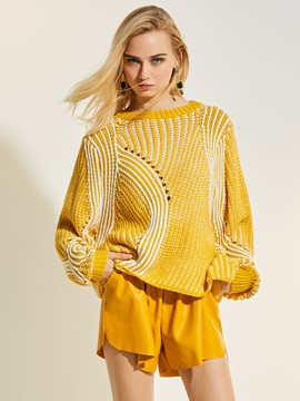 Ericdress Loose Stripe Hollow Pullover Knitwear