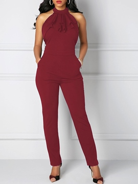 Ericdress Backless Lace-Up Pocket Jumpsuits Pants