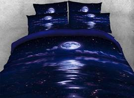 Vivilinen Night Moon and the Sea Printed Cotton 3D 4-Piece Bedding Sets/Duvet Covers