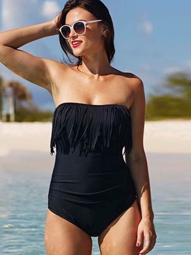 Ericdress simple borla sin patrón monokini
