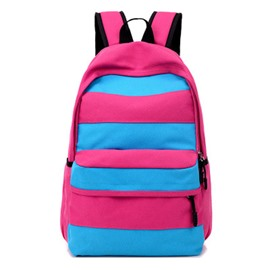 Ericdress Casual Colorful Stripe Canvas Backpack