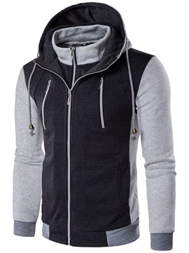 Ericdress Double-Layer Zip Casual Men's Hoodie