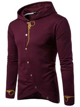 Ericdress Oblique Button Embroidery Unique Casual Men's Hoodie