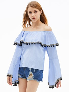 Ericdress Slash Neck Stripe Tassel Patchwork Blouse