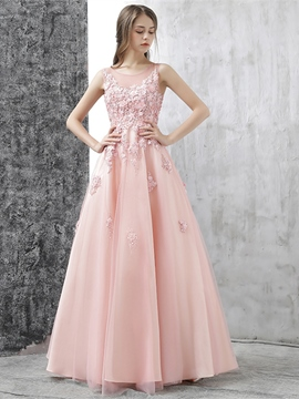 Ericdress A Line Applique Floor Length Long Evening Dress