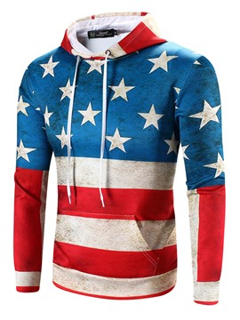 Ericdress American Flag Digital Printed Slim Vogue Men's Hoodie