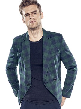 Ericdress One Button Unique Lapel Vogue Plaid Men's Blazer